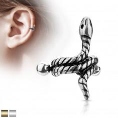 Ocelový piercing do ucha - zatočený had s proužky na těle