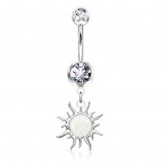 Ocelový piercing ve stříbrném odstínu do bříška - blýskavý zirkon, sluníčko
