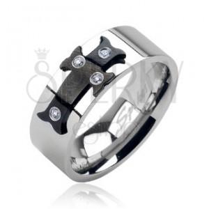 Ocelový prsten černý kříž, zirkony