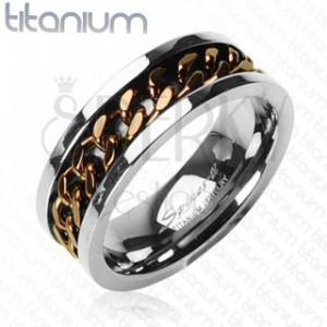 Titanový prsten - měděný řetěz