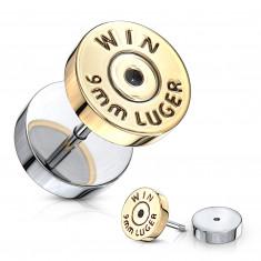 """Fake plug ve stříbrné barvě - plochý kruh ve zlatém odstínu, nápis """"WIN"""""""