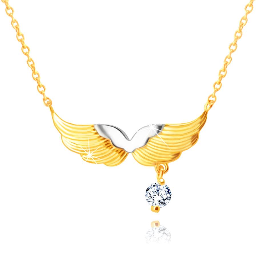 Levně Zlatý kombinovaný náhrdelník 585 - andělská křídla, kulatý zirkon čiré barvy