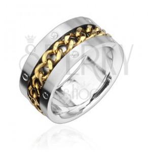 Prsten z oceli s pozlaceným řetězem