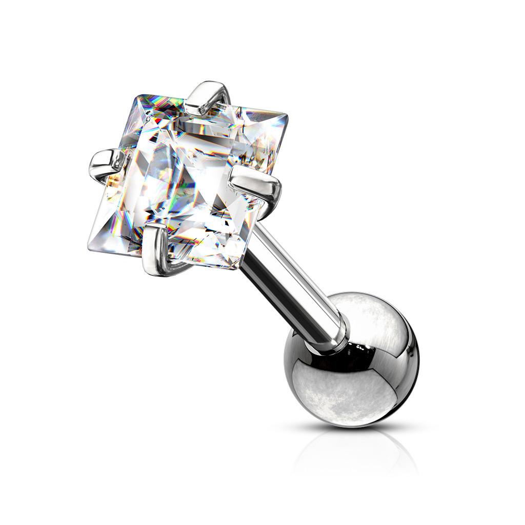 Ocelový piercing stříbrné barvy do tragu - čtvercový zirkon v čirém odstínu, 8 mm - Rozměr: 1,2 mm x 8 mm x 3x3 mm