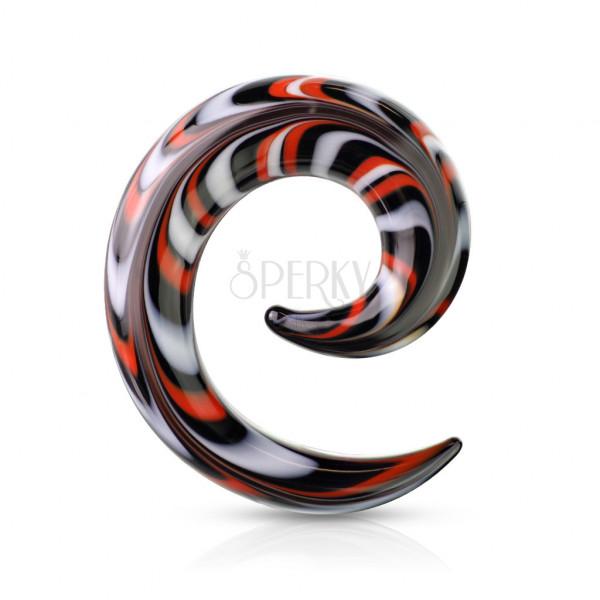 Spirálovitý expander do ucha ze skla - vzory bílé, červené a černé barvy