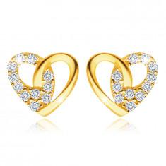 Zlaté náušnice ze 14K žlutého zlata - kontura srdce, čiré zirkony