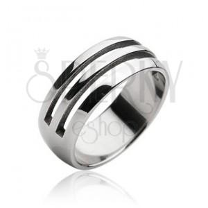 Ocelový prsten - dva vyřezané pruhy