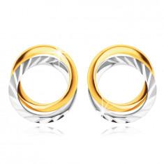 Náušnice z kombinovaného zlata 585 - dva propletené prstence, podélné zářezy