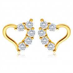 Zlaté náušnice ze 14K žlutého zlata - nepravidelná kontura srdce, čiré zirkony