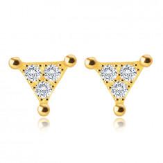 Puzetové náušnice ve žlutém 14K zlatě - trojúhelník s čirými zirkony
