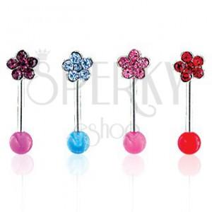 Piercing do obočí květina na UV kuličce