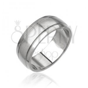 Pánský prsten z oceli - matný středový pás