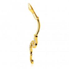 Piercing ze 14K zlata do bříška - lesklý vlnící se had, ocas ozdobený blýskavými zirkony