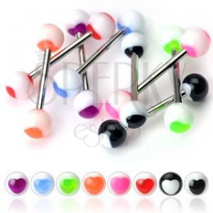 Piercing do jazyka - barevné srdíčko na kuličce