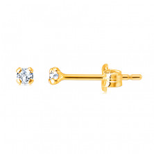 Zlaté náušnice ze 14K zlata - drobný blýskavý zirkonek, lesklý povrch