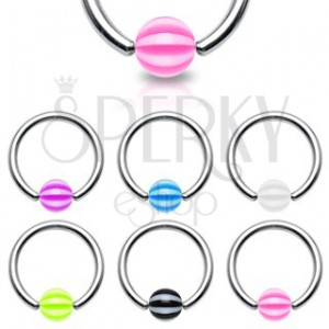 Piercing - kroužek s páskovanou kuličkou