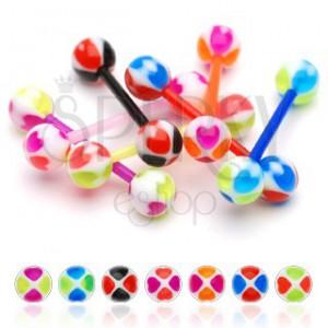 Piercing do jazyka - veselá kulička, barevná srdíčka