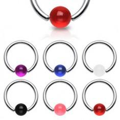 Piercing - kroužek, barevná UV kulička