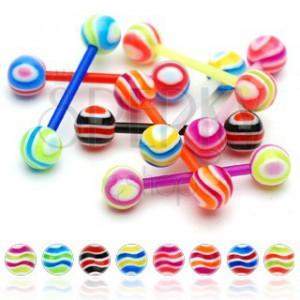 Piercing do jazyka - barevné proužky