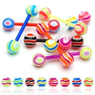 Levně Piercing do jazyka - barevné proužky - Barva piercing: Růžová - Zelená - PG