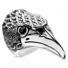 Ocelový prsten, mohutná hlava orla - černé zirkony, rýhované patinované peří