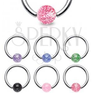 Piercing - ocelový kroužek, třpytivá kulička | Šperky Eshop