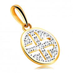 Zlatý přívěsek ze žlutého 585 zlata - kruh ozdobený kulatými zirkony, černé pokovení
