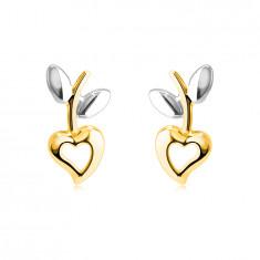 Náušnice ze 14K kombinovaného zlata - srdce s výřezem, stopka s lístky, puzetky
