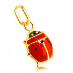 Přívěsek ze 14K žlutého zlata - červenočerná glazovaná beruška, lesklý povrch