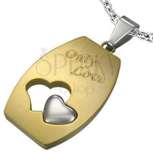 Ocelový přívěsek Only Love stříbrno-zlatý