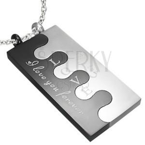 Ocelový Puzzle přívěsek, stříbrně-černý