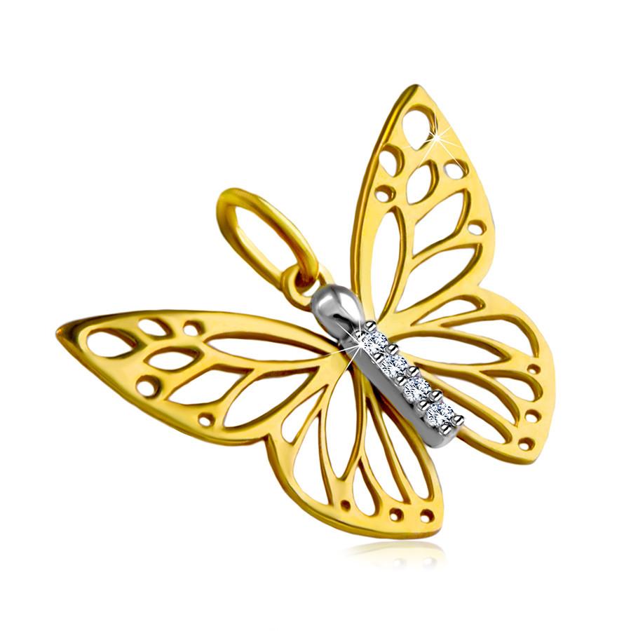 Levně Přívěsek z kombinovaného 14K zlata - motýlí křídla s výřezy, krátká zirkonová linie
