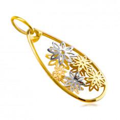 Přívěsek z kombinovaného 14K zlata - linie velké slzy, vyřezávané květy