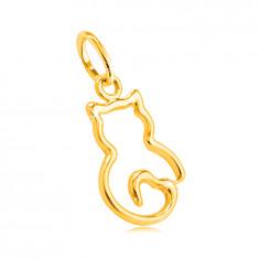 Přívěsek ze žlutého 14K zlata - tenký obrys kočičky s ocáskem ve tvaru srdce