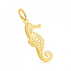 Přívěsek ze žlutého 585 zlata - mořský koník s jemnými výřezy, zatočený ocásek