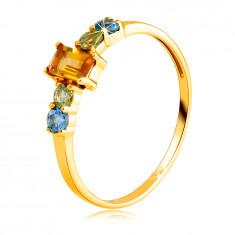 Prsten ze žlutého 14K zlata - hranatý citrín, okrouhlý olivín a švýcarský topas