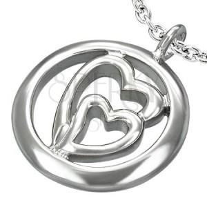 Přívěsek z oceli - dvě srdce v kruhu
