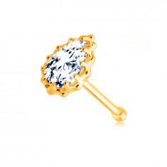 Diamantový piercing do nosu z 9K žlutého zlata - briliantová slzička, obruba se zářezy