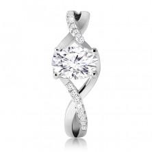 Zásnubní prsten z 925 stříbra - oválný čirý zirkon, propletená zvlněná ramena