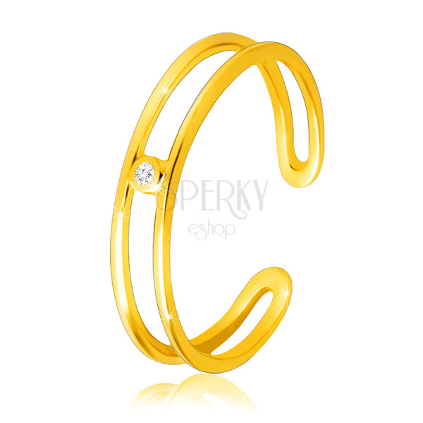Diamantový prsten ze žlutého 14K zlata - tenká otevřená ramena, čirý briliant