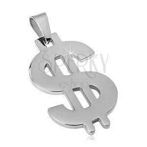 Přívěsek z oceli 316L stříbrné barvy, symbol dolaru