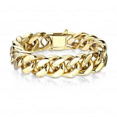 Mohutný ocelový náramek ve zlaté barvě - široký zploštělý řetěz, různé délky