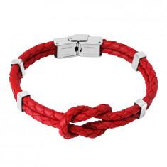 Červený kožený náramek - uzel ze dvou pletenců, kovové svorky, hodinkové zapínání