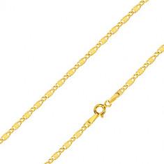 Řetízek ve žlutém 14K zlatě - podlouhlá očka s paprskovitým rýhováním a oválná očka, 450 mm