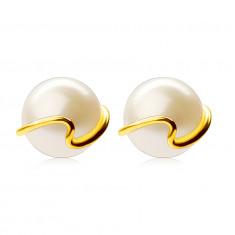 Zlaté 375 náušnice - kultivovaná bílá perla, tenká zvlněná linie, puzetky