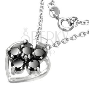 Módní náhrdelník se srdíčkem a kvítkem