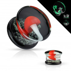 Plug do ucha, sklo Pyrex - zalitá bílá houba s červeným kloboučkem, svítící ve tmě