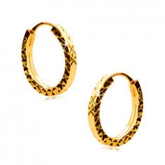 Náušnice ve žlutém 375 zlatě - kroužky ozdobené diamantovým řezem, hranatá ramena, 12 mm