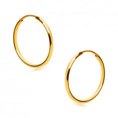 Zlaté kruhové náušnice ve 9K zlatě - tenká oblá ramena, hladký a lesklý povrch, 15 mm