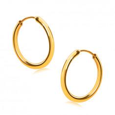 Zlaté náušnice ve žlutém 9K zlatě, kruhy, oblá ramena, hladký a lesklý povrch, 14 mm